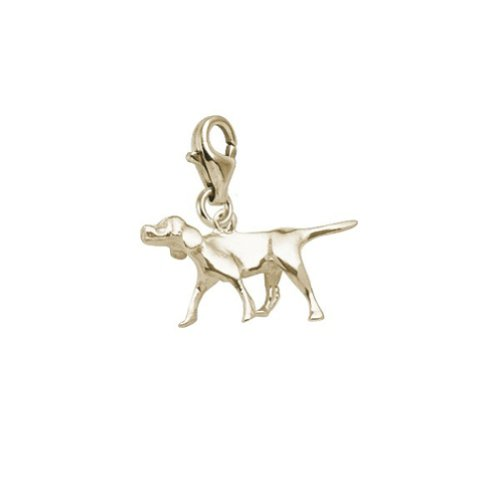 Retriever Plated Charm Dog Gold (Gold Plated Retriever Dog Charm With Lobster Claw Clasp, Charms for Bracelets and Necklaces)