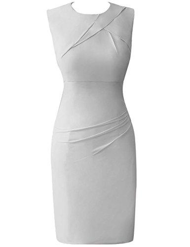 HUINI De las mujeres Moda Corto Gasa C¨®ctel Trajes de gala Oficina Trabajo Formal Vestidos Plateado