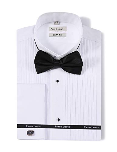 Men's Long Sleeve Wingtip Collar Tuxedo Dress Shirt with French Cuffs and Present a Gift of Bow Tie Mental Cuff-Link and Studs ... White from Piero Lusso