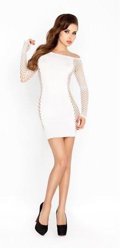 Passion Weißes Mini-Kleid mit Netzstoff-Ärmeln