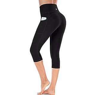 Ewedoos Capri Leggings for Women with Pockets High Waisted Yoga Pants for Women Yoga Capris Workout Leggings for Women Black