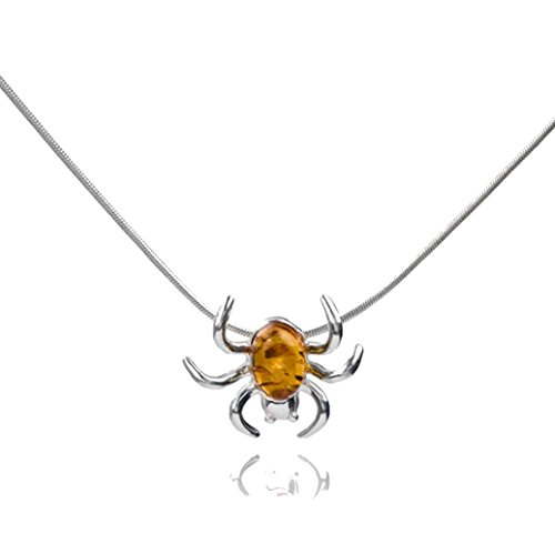 Sterling Silver Amber Halloween Spider Pendant Chain 18 -