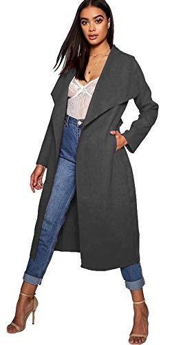 Spolverino Donna Da Charcoal Aramoniat Cappotto Cappotti Grey Lungo Cascata 9eWHbEDI2Y