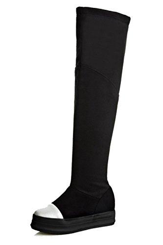 VogueZone009 Damen Rund Zehe Gemischte Farbe Mittler Absatz Stiefel mit Metallisch, Grau, 39