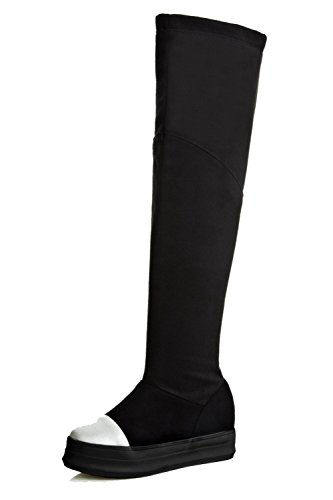 Allhqfashion Mujeres Round Closed Toe High-top Kitten-heels Materiales De Mezcla Botas Negro
