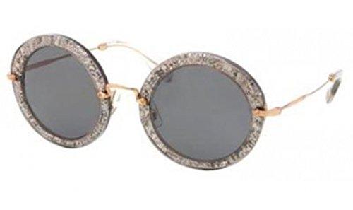 Miu Miu 13NS IAH1A1 Smoke Glitter Silver Gray 13NS Noir Round Sunglasses Lens - Round Miu Sunglasses Miu Noir