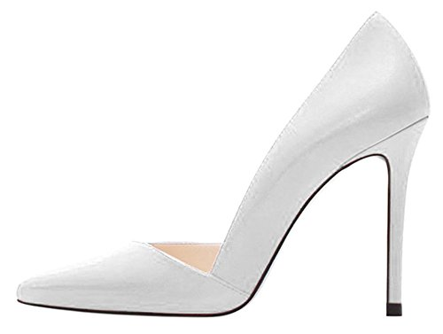 10cm 46 Big heel Sharp mouth size Shallow Color Solid Grey High White Fine Shoes DYF 6qwZPUCZ
