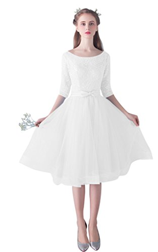 Womens Short Lace White Wedding Dress Bride Party Gown - 8