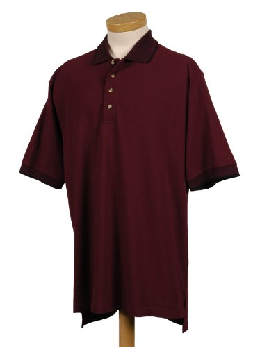Tri-mountain Mens cotton pique golf shirt with jacquard trim. - DARK MAROON / BLACK - (Embellishments Shirt Labels)