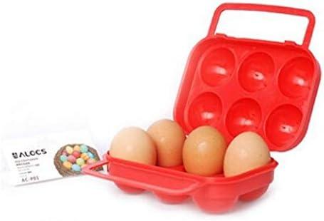 LQBZDDX Al Aire Libre Senderismo Camping BBQ Portátil Portador De Cartón De Plástico Portador De Huevos Plegable Caja De Bandeja De Almacenamiento para 6 Huevos Impermeable A Prueba De Choques Rojo: Amazon.es: