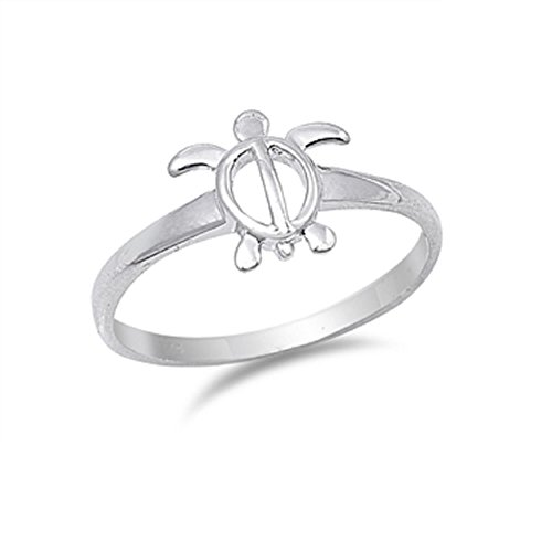 CloseoutWarehouse Sterling Silver Solitaire Sea Turtle Honu Ring Size ()