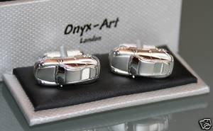 Onyx Art Men's Novelty Cufflinks - Porsche Sports Car (Link Onyx)