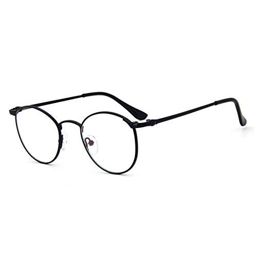 d7e2ab2515 D.King Vintage Oversized Round Metal Frames Clear Lens Glasses Eyeglasses  Black