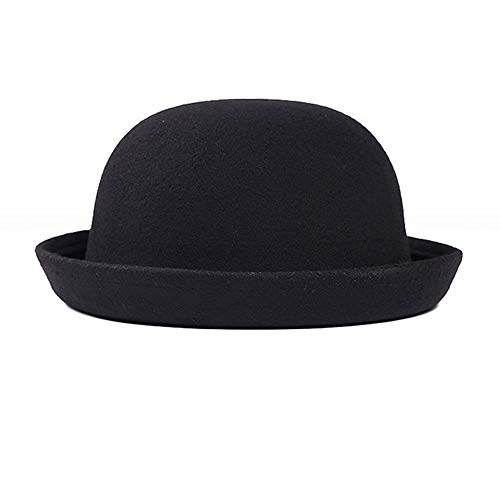 StyleZ Fashion Style Lady Vogue Vintage Women's Wool Cute Trendy Bowler Derby Hat (Black)