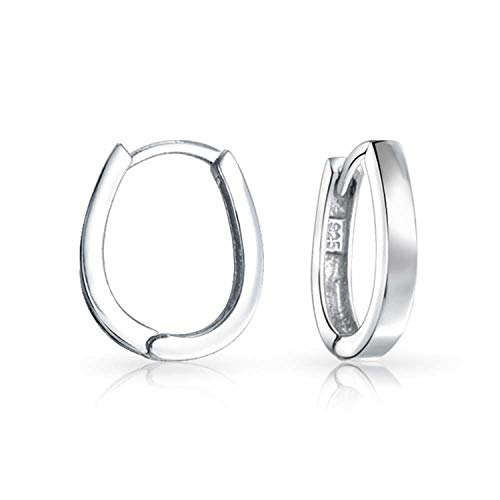 Two Tone Small Oval Huggie Hoop Kpop Earrings For Women For Men Polished 14K Gold Plates 925 Sterling Silver