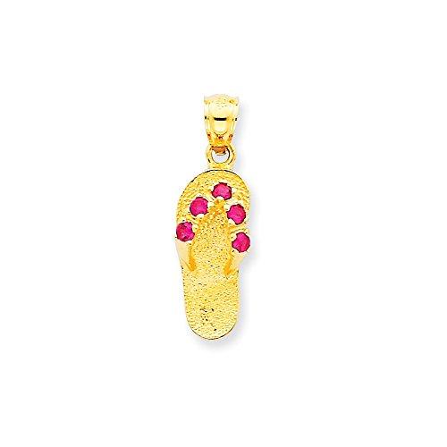 14k Number Flip Flop Pendant (Diamond2Deal 14k Yellow Gold July CZ Birthstone Flip Flop Pendant)
