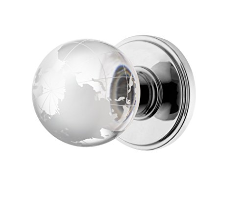 Decor Living, AMG and Enchante Accessories Modern Globe Crystal Door Knobs, Frosted Glass Design, Passage Function for Hall and Closet, Atlas Collection, DK02C POC, Polished Chrome