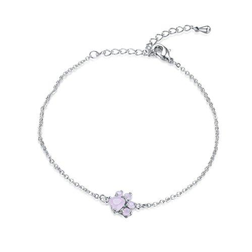 Chain Lobster Fashion Bracelet - Viola Tricolor Silver Poppy Paw Bracelet Pink CZ Crystal Charm silver Chain Lobster Clasp Bangle Bracelets Fashion Adjustable Jewelry Gifts for Women Girls