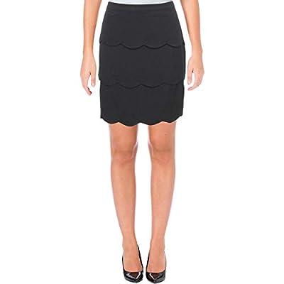 Aqua Womens Scalloped Above Knee Tiered Skirt