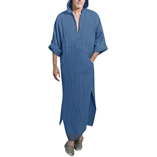 LuluZanm Mens Robes Male Ethnic Loose Solid Blouse Long Sleeve Loose Shirts Kaftan Hooded Vintage Dress Robe Navy