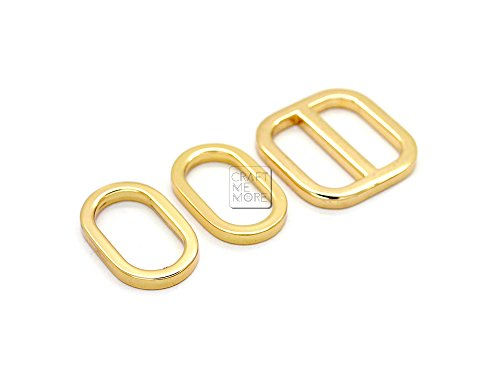 [CRAFTMEmore 1 Inch 2PCS Movable Bar Sliders and 4 PCS Oval Rings, Strap Adjuster Square Slide Buckle Metal Loops for Bags (Gold)] (Gold Slide Ring)