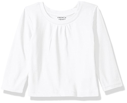 French Toast Baby Girls' Long Sleeve Crew Neck T-Shirt, White, 24M