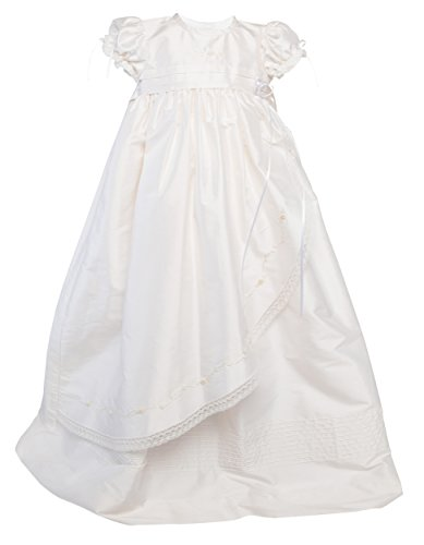 Karela Baby Girl Christening Silk Gown. Beautiful Embroidered, Pearls, Ribbons and Lace. Matching Bonnet (6 mo)