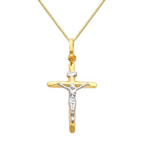 Wellingsale 14k Two 2 Tone Gold Polished Catholic Crucifix Cross Charm Pendant with 0.65mm Box Link Chain Necklace - 18