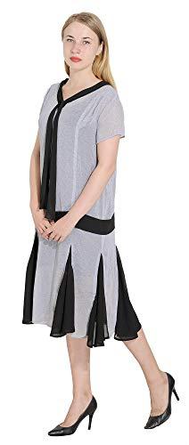 Marycrafts Women't Drop Waist 1920s Lined Floral Godet Dress L Dotted Light Grey