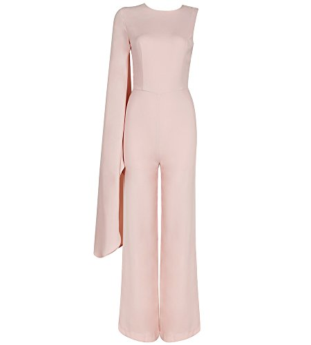 Hego Women's One Shoulder Sexy Elegant Jumpsuits For Women Party H3615 (M, Apricot Pink)