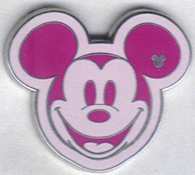 Hidden Mickey Pin - Colorful Mickey's Head - Pink (Lanyard Disney Member Cast)