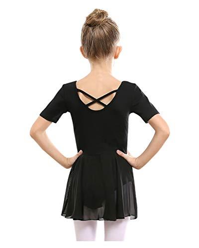 STELLE Girls Ballet Short Sleeve Dress Leotard for Dance, Gymnastics and Ballet(Toddler/Little Girl/Big Girl)(90cm, Black)