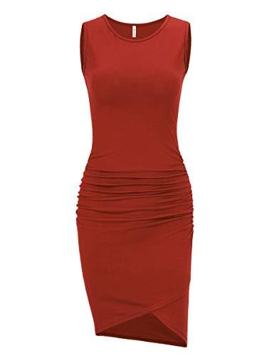 (Women's Casual Long Sleeve Ruched Bodycon Sundress Irregular Sheath T Shirt Dress (Sleeveless Rust, Medium))