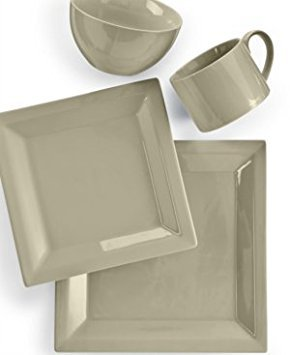 Martha Stewart Collection Harlow Oyster Shell Square 4-Piece Place Setting