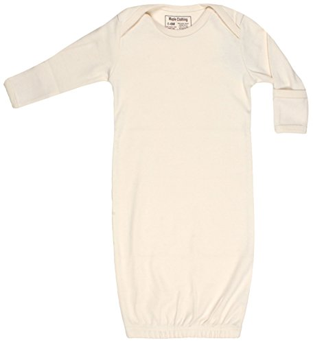 Organic Cotton Baby Clothes Sleepwear Gown GOTS Certified (Natural, 0-6m)