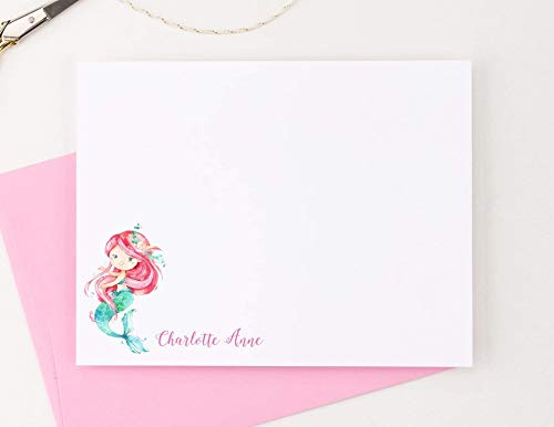Mermaid Note (Personalized Mermaid note cards, Personalized Stationery for Girls, Baby shower thank you cards, Your choice of Colors and Quantity)