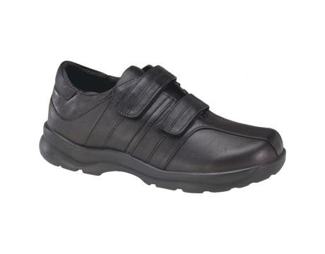 Apex Men's Y800M Velcro Black Walking Shoes - Size 15 3E US