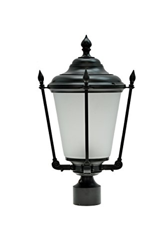 "Aspen Creative 60013 1 Light Medium Outdoor Post Light Fixture with Dusk to Dawn Sensor, Transitional Design in Black, 20 1/2"" High"