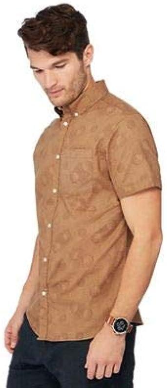Debenhams - Camisa casual - para hombre Marrón canela X-Large: Amazon.es: Ropa y accesorios