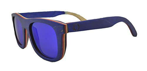 Skateboard Wooden Sunglasses for Men or Women, Wood Sun Glasses in Blue with Red and Natural Layers and Blue Polarized Lenses, Trendy Wood Frame Sunglasses, Wayfarer Sunglasses - Components Sunglass