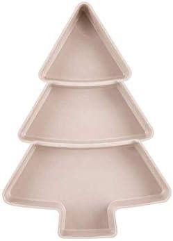 SHUUY ナッツフルーツクリスマスプレートボウルディッシュプレート食器朝食トレイキャンディディッシュキッチンホームの供給のためのクリエイティブクリスマスツリーの形プレート (Color : Pink)