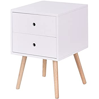 f65b35dc60e Giantex Side End Table W 2 Drawers Mid-Century Accent for Bedroom Living  Storage Home Furniture Nightstand (1)