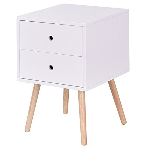 Giantex White Side End Table Nightstand With Drawers Mid-Century Accent Wood Furniture 31PVGj7Z nL