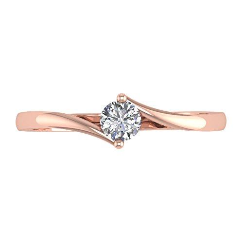 Igi sertie de diamants Coupe ronde Diamant Mariage Bague de fiançailles en or 14K (G-H, i3, 1/5carats)