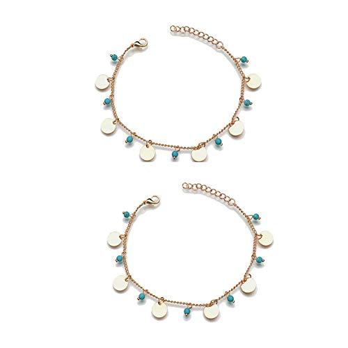 FiveLucky 2 Pack Vintage Turquoise Disc Anklet Gold Beach Barefoot Chain for Women ()