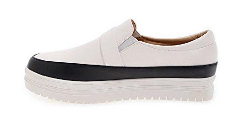 Amoonyfashion Womens Zacht Materiaal Pull-on Lage Hakken Diverse Kleuren Pumps-schoenen Zwart