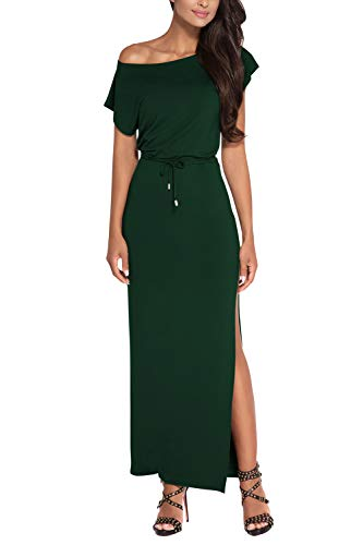 Meenew Womens Off Shoulder Short Sleeve High Slit Maxi Jersey Dress Dark Green L