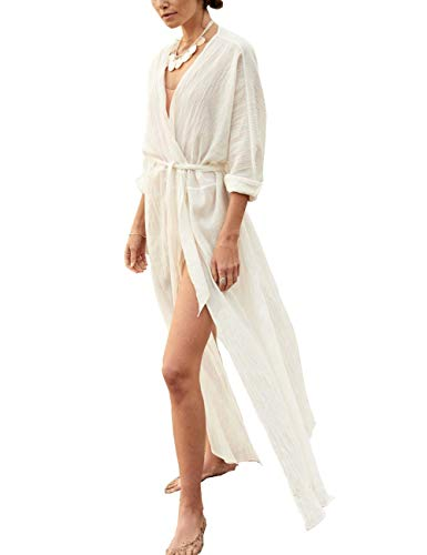 Bikini Cover up Women Beach Wears Cardigan Kimono Night Gown Bathrobe White (one size, 8359)