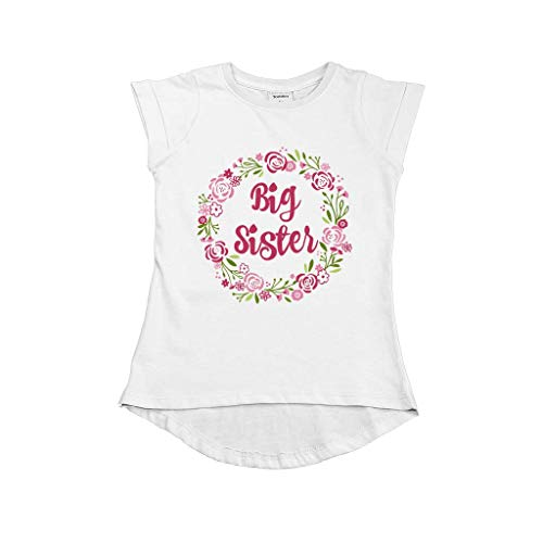 Big Sister Shirt for Toddler t Shirt sis Outfits Girls Floral Tshirt (White, 2y)