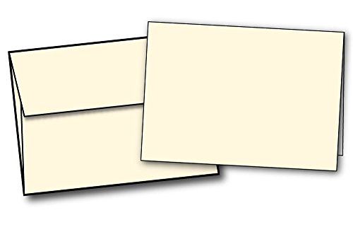 (Heavyweight Small Blank Cream/Natural / Off-white Greeting Card Sets - 40 Cards & Envelopes - Note Card/Thank You Card Size with A1 Envelopes)